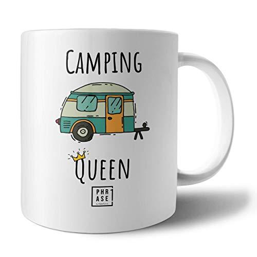 PHRASE 1 by FotoPremio Tasse mit Spruch - Camping Queen   Kaffeetasse beidseitig Bedruckt   Tasse mit Motiv Camping   Geschenkidee für Camper und Camperinnen