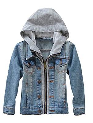 Mallimoda Kids Boys Girls Hooded Denim Jacket Zipper Coat Outerwear Style 2 Blue13-14 Years