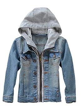 Mallimoda Kids Boys Girls Hooded Denim Jacket Zipper Coat Outerwear Style 2 Blue 9-10 Years