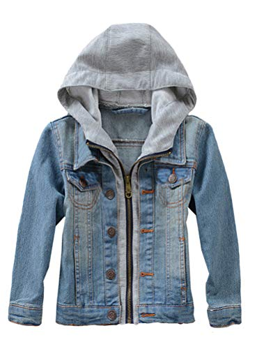 Mallimoda Kids Boys Girls Hooded Denim Jacket Zipper Coat Outerwear Style 2 Blue 11-12 Years