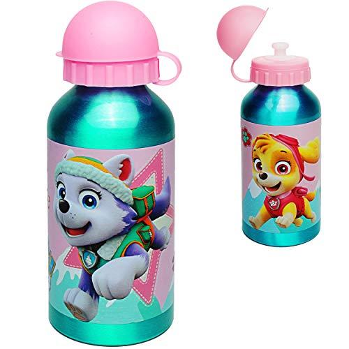 alles-meine.de GmbH 2 Stück _ Trinkflaschen / Sportflaschen -  Paw Patrol - Hunde  - 400 ml - auslaufsicher - aus Aluminium - Wasserflasche - für Kinder - Aluflasche 0,4 Liter ..