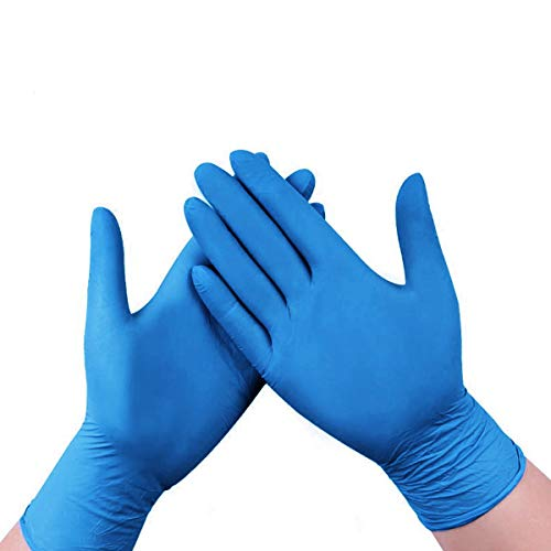 100 Pcs Nitrile Gloves, 4 mils Disposable Gloves, Powder Free, Latex Free, Industrial Gloves, Cleaning Glove for Family Use, Blue (Blue, L)