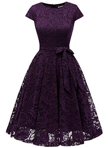 MuaDress 6008 Cocktailkleid Knielang Cape Ärmel Spitzen Brautjungfernkleid Floral Elegant Violett XS
