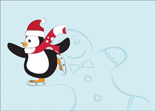 Kartenkaufrausch Hübsche Weihnachtskarte mit Schlittschuh laufendem Pinguin mit Lebkuchen Mann auf Eis: ohne Text • auch direkt Versand mit ihrem Text Einleger • als Weihnachtspost, Gutschein, kleines Geschenk