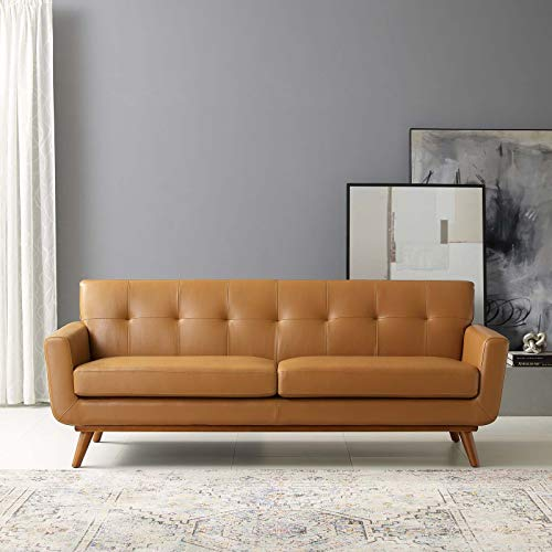 Modway Engage Top-Grain Leather Living Room Lounge Tan, Sofa