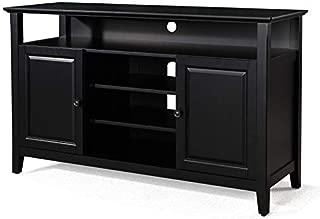 Phoenix Home Solid Wood TV Media Stand, Tall, Black
