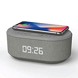 i-box Bedside Radio Alarm Clock with USB Charger, Bluetooth Speaker, QI Wireless Charging, Dual Alarm Dimmable LED Display (Grey)