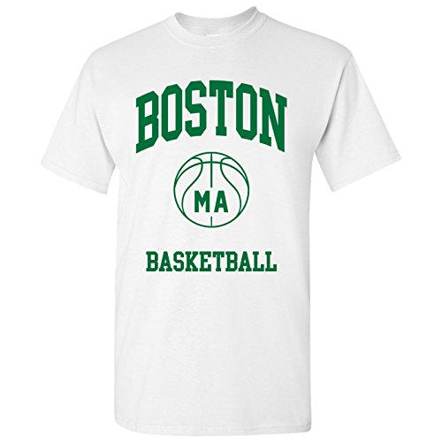 Boston Classic Basketball Arch Basic Cotton T-Shirt - Large - White