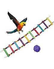 Maotrade Juguete de loro para jaula 10 escaleras Escalera de madera colorida Juguete de periquito con campana y bolas de ratán para entrenamiento y juego de ratas de mascota de cockatiel gris africano