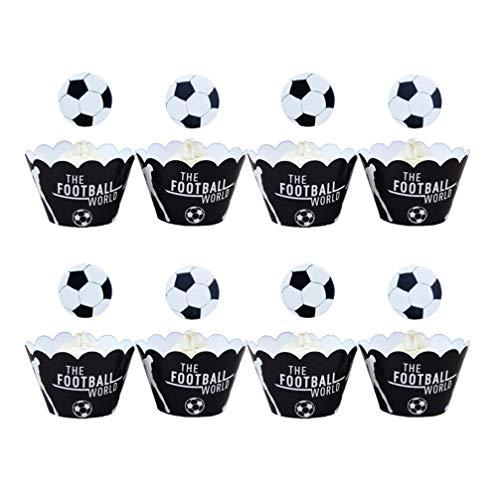 Tomaibaby 48 Stück Fußball Party Kuchen Topper Wrapper Set Sport Thema Cupcake Pick Wrapper Fußball Party Liefert ohne Zahnstocher zum Geburtstag (Weiß Schwarz)
