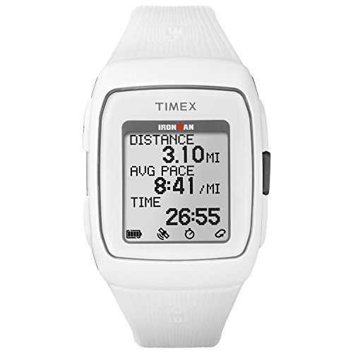multi purpose gps sport watch Timex TW5M11900 Iron Man GPS Unisex Watch White Silicone Strap
