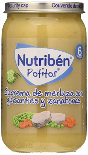 Nutribén Potitos Suprema de Merluza con Guisantes y Zanahorias, Desde Los 6 Meses, 235g