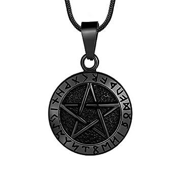 Hipunk Wiccan Pentagram Necklace for Men Pentagram Brisingamen Pendant Mens 316L Stainless Steel Witchy Tetragrammaton Pentacle Eliphas Levi s Necklace Pagan Magical Star Satanism Jewelry SP0061B