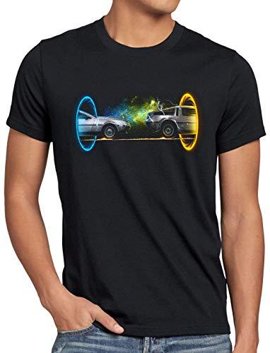 style3 Delorean Portal Herren T-Shirt zeitreise Marty mcfly, Größe:L