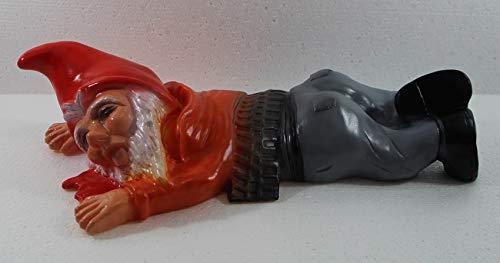 RAKSO Gartenzwerg Deko Garten Figur Zwerg überfahren liegend in Blutlache aus Kunststoff Länge 39 cm