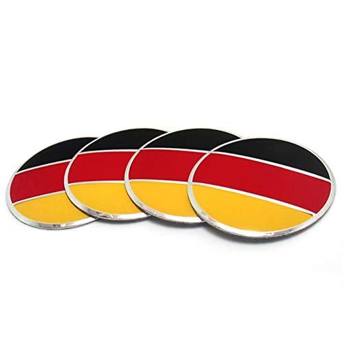 Tapas para tapacubos 4 unids / set 56mm bandera alemana aleación aleación de la rueda de la rueda de la rueda de la rueda del centro pegatina Emblema compatible con VW Volkswagen Audi BMW Mercedes Ben