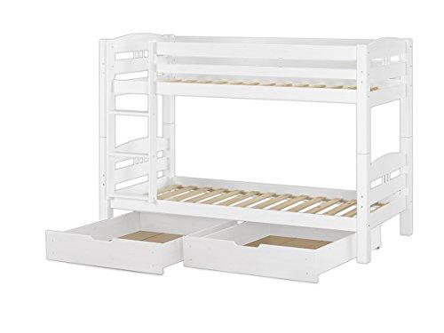 Erst-Holz® Etagenbett Kinderstockbett Kiefer weiß 90x200 Bettkästen Rollrost hohes Bett 60.10-09WS2