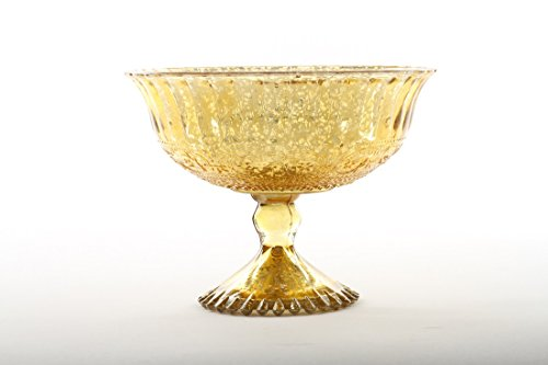 Koyal Wholesale 5-Inch Antique Gold Glass Compote Bowl Pedestal Flower Bowl Centerpiece