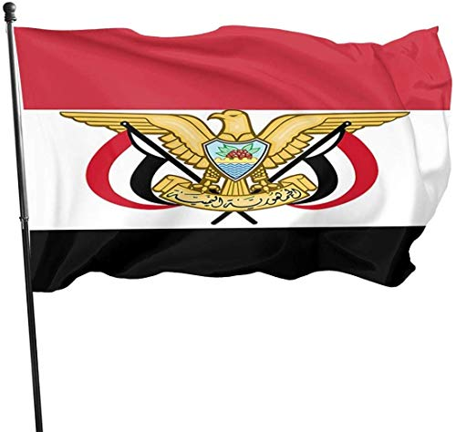 Jemen Vlag Nationaal Embleem Tuin Vlaggen Duurzame Fade Resistant Decoratieve Vlaggen Premium Kwaliteit Officiële Vlag met Grommets Polyester Deluxe Outdoor Banner 2020 voor Alle Seizoenen & Vakanties- 3X 5 Ft