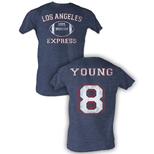 USFL T-Shirt LA Express Young Navy Heather Tee Front & Back, Large