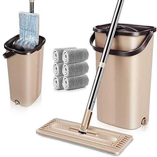 Płaskie mopy i wiadra z mikrofibry z 5 podkładkami do mopa z mikrofibry automatyczne czyszczenie myjące się i suche zestawy mopa i wiader do czyszczenia podłogi