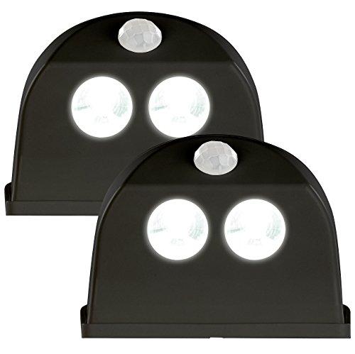 Luminea LED Lampe Bewegung: 2er-Set LED-Türleuchten, Bewegungs-/Lichtsensor, 0,4 W, 50 lm, schwarz (LED-Treppen-Lampen)