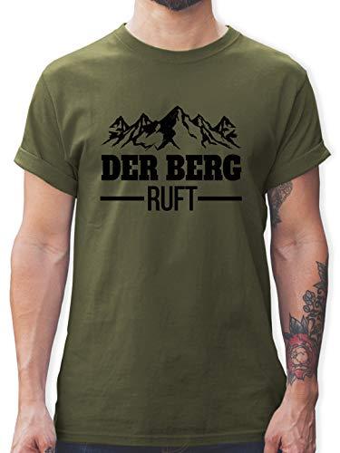 Après Ski - Der Berg Ruft - schwarz - L - Army Grün - The Mountains Are Calling and I Must go - L190 - Tshirt Herren und Männer T-Shirts