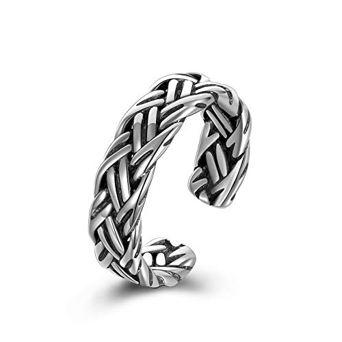 ONEFINITY Celtic Knot Adjustable Ring Sterting Silver Viking Jewelry Open Ring, Adjustable Band Ring Jewelry for Women/Men