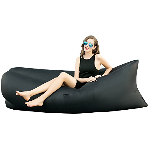 HAKE Outdoor Inflatable Hangout Portable Bag Lounger Nylon Fabric Suitable For Camping Beach Couch Sofa (Black)