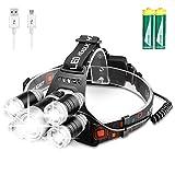 RaxKer Headlamp, 12000 Lumen Ultra Bright 5 LED Headlight, USB Rechargeable Head Lamp