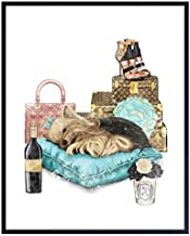 Poster of Louis Vuitton - LV Wall Art - Glam Luxury Couture Wall Decor Print - Cute Yorkie, Designer Handbags, Shoes, Luggage - Fashion Design Gifts for Women, Girls Bedroom, Teens Room, Living Room