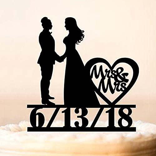 JSJJAUJ Tårtdekoration tårtkruka med datum, bröllopstårta topp, tårtbord, träkruka (färg: Spegel silver, storlek: 18 cm)