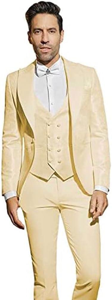 Men's 3 Pieces Jacquard Suit Slim Fit Business Blazer Wedding Groomsmen Tuxedos