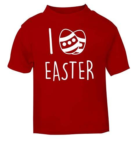 Flox Creative T-Shirt pour bébé Inscription I Love Easter - Rouge - 6 Mois