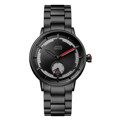 Star Wars Herren Datum klassisch Quarz Uhr mit Edelstahl Armband STAR482