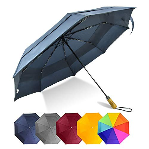 LEAGERA Large Umbrella Durable Double Canopy Umbrella Windproof Tested Oversized Travel Umbrella Folding Compact Automatic Golf Size