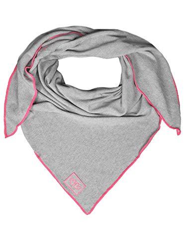 Dreieckstuch mit Kaschmir von Zwillingsherz - Hochwertiger Schal im Uni Design für Damen Jungen und Mädchen - XXL Hals-Tuch und Damenschal - Strick-Waren für Sommer und Winter - hellgrau/pink