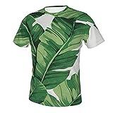 MayBlosom Camisa para hombre impresa en 3D, informal, suave, atlética, ajuste regular, diseño de hojas de plátano tropicales