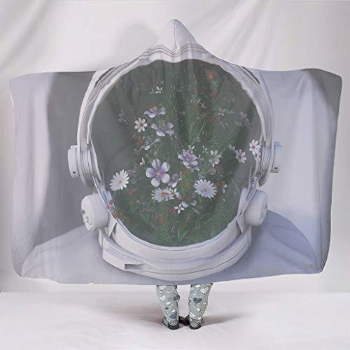 Manta suave con capucha, fantasía, astronauta, cara, descubrimiento de flores, arte de impresión, cálida, invierno, sherpa, fantasía, manta, manta, viaje, capa, sofá, cama, etc., blanco, para Galaxy S3