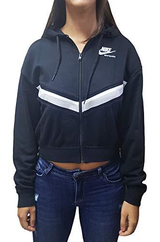 Nike Damen Heritage Full Fleece Kapuzensweatjacke, Black/Grey Fog/White, M