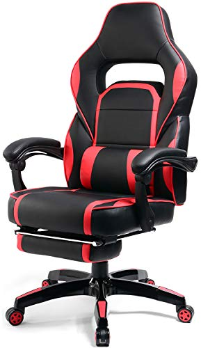 Big and Tall Gaming Chair High Back PU Leather PC Racing Computer Desk Office Executive Swivel Recliner with Retractable Footrest and Adjustable Lumbar Support, Red/Black black chair gaming