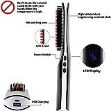 Bartglätterbürste, VLOXO Kabelloser Bartglätterkamm mit LCD-Display, tragbarer USB-Elektro-Heizbartbürste Haar-Ionenglätter-Kamm Anti-Brühe MEHRWEG - 6