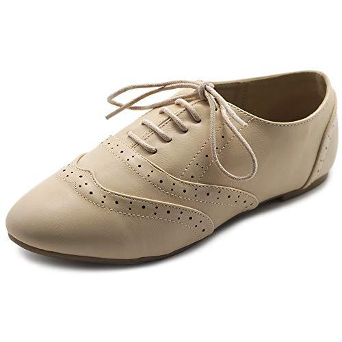 Ollio Women's Shoe Classic Lace Up Dress Low Flat Heel Oxford M1914(6 B(M) US, Beige)
