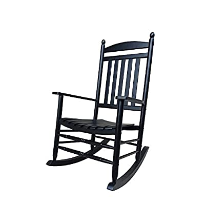 Rocking Rocker-A040BK Black Porch Rocker/Rocking Chair -Easy to Assemble-Comfortable Size-Outdoor or Indoor Use
