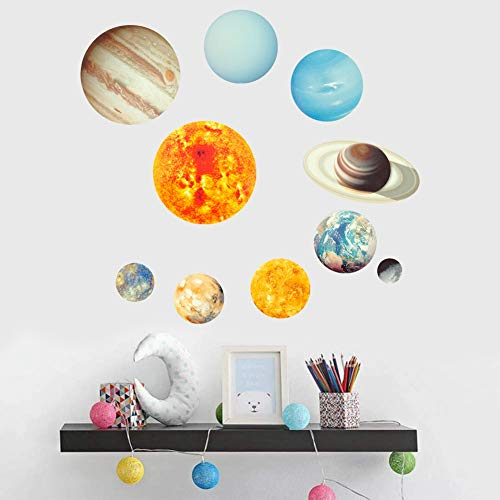 SUSSURRO Lot de 9 Sticker Muraux Plantes 3D Cool Sphère Lumineuse Étoile Fond Autocollant Mural Galaxie, Décoration pour Chambre Bébé Enfant Adult Salon Cuisine DIY Bricolage