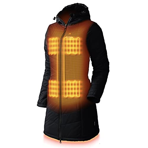 Victoria Women's Long Puffer Heated Jacket - 9 hrs of Heat | 5 Heat Zones | With Battery & Charger | Machine Washable | All Day Warmth | 2XL