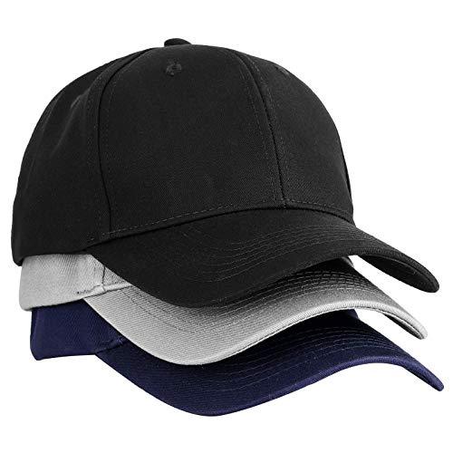 W/B 3Pack Baseball Cap for Men Women, Classic Solid Color Adjustable Plain...