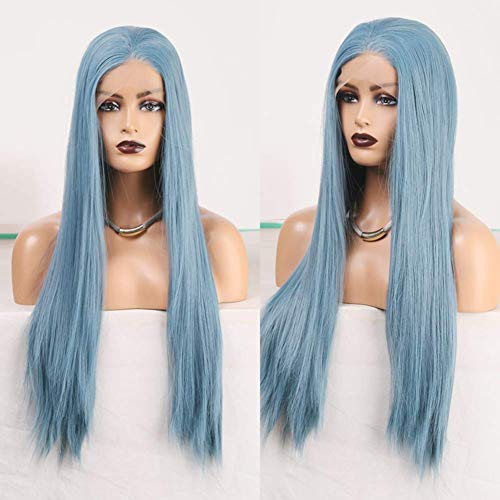 RDY Ash Blue Lace Front Wigs for Women Girls with Middle Part Long Silky Straight Synthetic Wig Pre Plucked Half Hand Tied Natural Hairline Daily Wear Halloween Cosplay Wig Can Be Restyled 22Inch