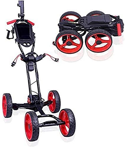 XQMY Chariot électrique léger, Chariot Pliant à 4 Roues avec Support de Carte de pointage et Porte-Parapluie, Une Seconde pour Ouvrir et Fermer Le Chariot de Traction