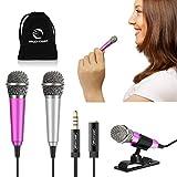 [2PCS] Mini Karaoke Microphone, Wootrip Mini Voice Recording Microphone Portable Karaoke Mic for Singing, Recording, Voice Recording (Silver and Rose Red)